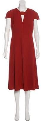 Narciso Rodriguez Short Sleeve Midi Dress Orange Short Sleeve Midi Dress