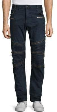 Regular-Fit Zippered Moto Jeans