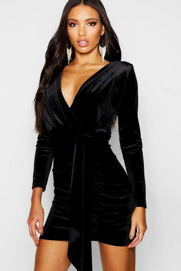 Long Sleeved Plunge Front Drape Bodycon Dress