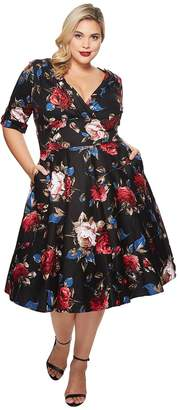Unique Vintage Plus Size Delores Swing Dress with Sleeves Women's Dress