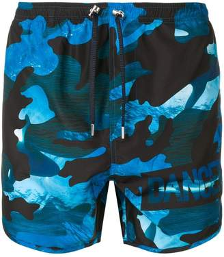 Neil Barrett Dance camouflage print swim shorts