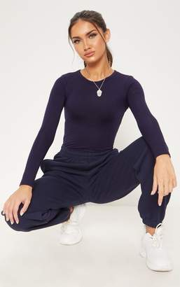 PrettyLittleThing Basic Navy Long Sleeve Fitted T Shirt