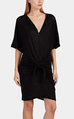 IRO Women's Arwen Linen Slub-Knit Knotted T-Shirt Dress - Black Size Xs