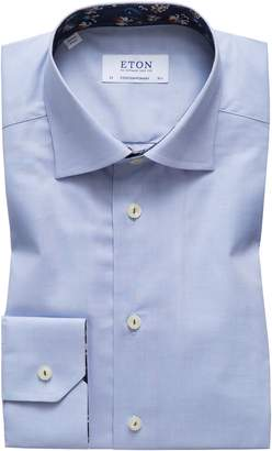 Eton Contemporary Fit Floral Trim Dress Shirt
