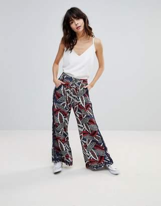 Hazel Leaf Printed Wide Leg Pants