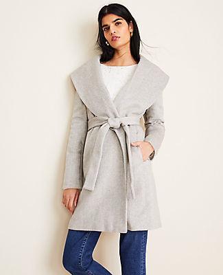 Ann Taylor Petite Herringbone Shawl Collar Wrap Coat