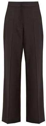 Stella McCartney Satin Striped Wide Leg Wool Trousers - Womens - Black