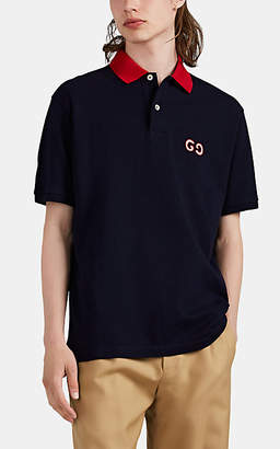 Gucci Men's GG Logo Cotton Polo Shirt - Navy