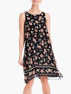 Max Studio Floral Print Swing Dress, Black/Apricot