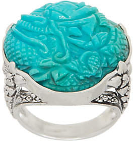 Stephen Dweck Sterling and Carved TurquoiseRing