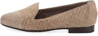 Sesto Meucci Nicia Studded Woven Leather Loafers, Taupe