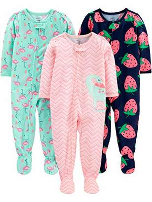 Carter's Simple Joys by Girls' 3-Pack Loose Fit Flame Resistant Polyester Jersey Footed Pajamas
