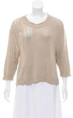 Etoile Isabel Marant Rib Knit-Trimmed Short Sleeve Sweater