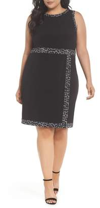 MICHAEL Michael Kors Print Trim Mock Wrap Sheath Dress