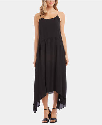 Karen Kane Shirred Handkerchief-Hem Dress