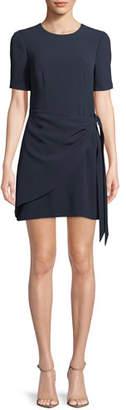 Cinq à Sept Bia Crewneck Short-Sleeve Crepe Short Cocktail Dress