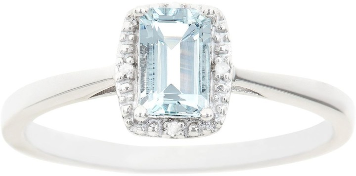 Sterling Silver Aquamarine & Diamond Accent Rectangle Halo Ring
