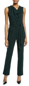Sleeveless Crepe Jumpsuit W/ Pearl Epaulettes