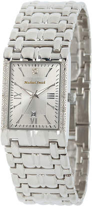 JCPenney FINE JEWELRY Personalized Dial Mens Diamond-Accent Square Silver-Tone Watch