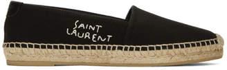 Saint Laurent Black 'SL' Embroidered Espadrilles