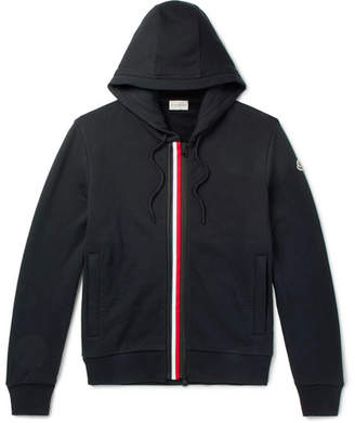 Moncler Striped Fleece-Back Cotton-Jersey Hoodie