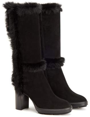Aquatalia Imelda Genuine Rabbit Fur Trim Suede Boot