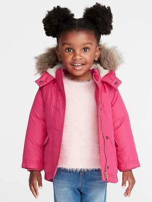 83be06835 Old Navy Hooded Faux-Fur Trim Snow Jacket for Toddler Girls