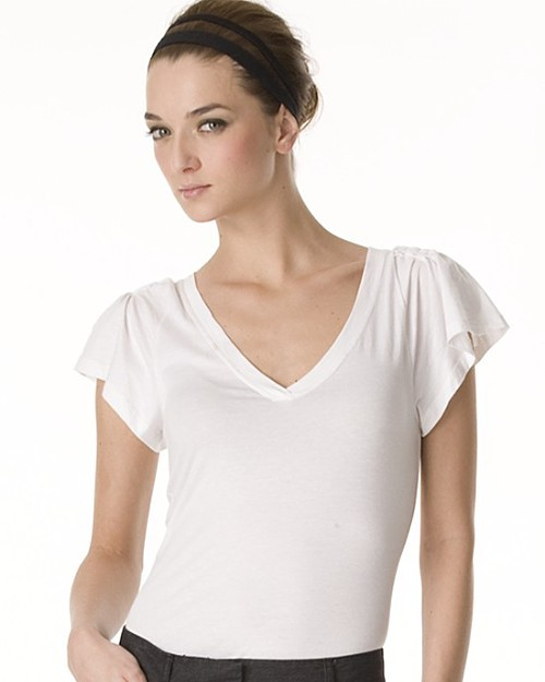 Theory Jadian Stay V Neck Flutter Tee