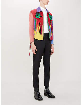 d8a39d78d Gucci Fringed embroidered suede jacket