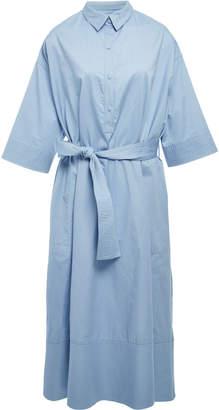 Co Trapunto Belted Cotton-Poplin Shirt Dress