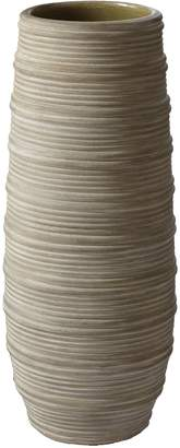 LS Collections Gray Corrugated Ceramic Vase, Small