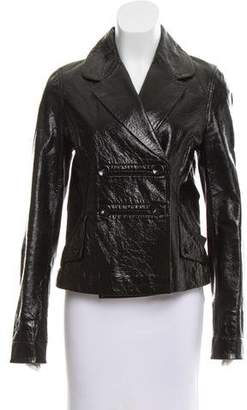 Peter Som Double-Breasted Patent Leather Jacket