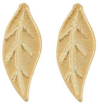 Argentovivo 18K Gold Plated Sterling Silver Leaf Stud Earrings