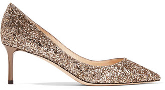 Jimmy Choo - Romy Glittered Leather Pumps - Gold $625 thestylecure.com
