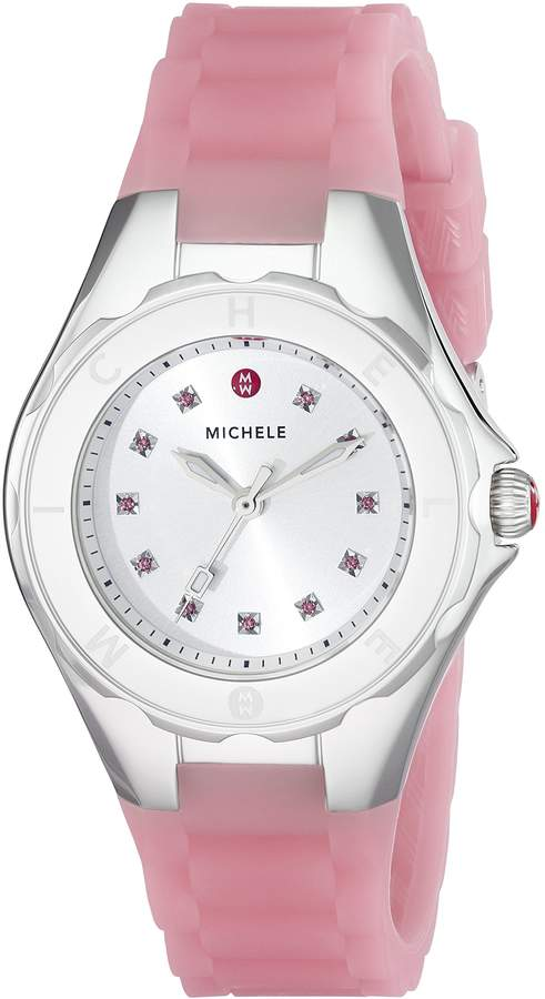 Michele Women's MWW12P000008 Jellybean Stainless Steel Watch with Topaz Stones