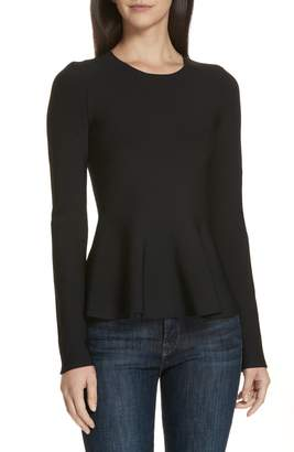 Theory Glossed Peplum Sweater