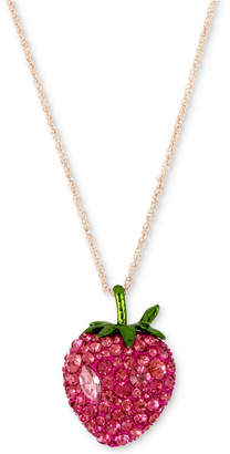 "Betsey Johnson Rose Gold-Tone Crystal Strawberry Pendant Necklace, 19"" + 3"" extender"