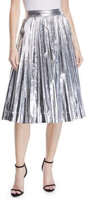 Calvin Klein High-Waist Pleated Flare Knee-Length Skirt