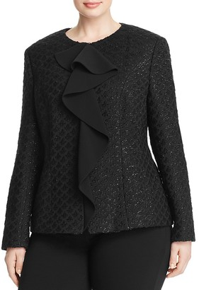 BASLER PLUS Ruffle Front Tweed Jacket $775 thestylecure.com