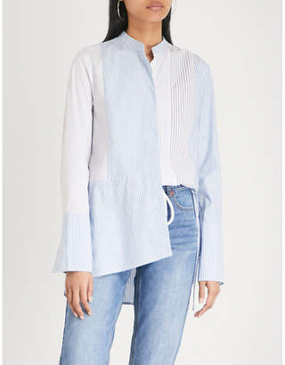 Mo&Co. Asymmetric striped-pattern cotton shirt