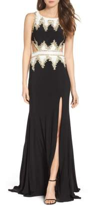 Mac Duggal Embellished Cutout Jersey Gown