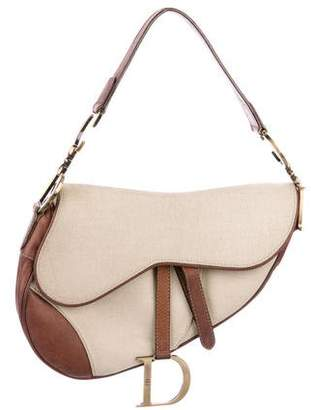 Christian Dior Leather-Trimmed Canvas Saddle Bag