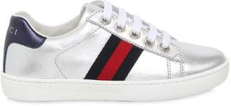 Gucci Metallic Leather Lace-Up Sneakers