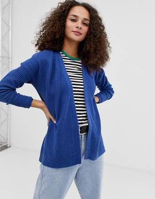 Brave Soul fisherman knit boxy cardigan in blue