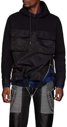 Sacai Men's Tech-Satin & Cotton-Blend Jersey Hoodie
