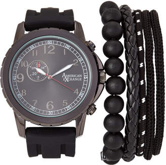 American Exchange MST5586 Black Watch & Bracelet Set