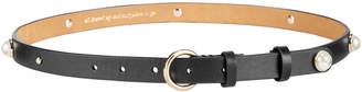 Kate Spade Imitation Pearl Stud Leather Belt
