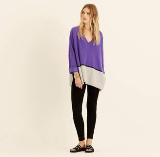 Amanda Wakeley Ultra Violet Colour Block Cashmere Boyfriend Jumper