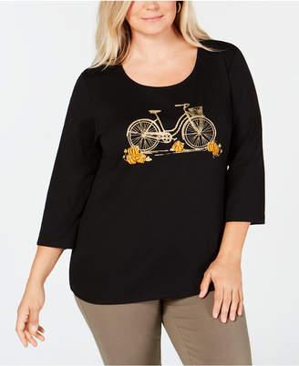 Karen Scott Plus-Size Halloween Cotton Pumpkin Ride Embellished 3/4-Sleeve T-Shirt