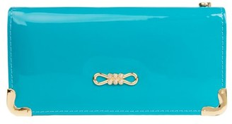 Vangoddy Women's Aqua Glossy Patent Leather Wallet With Card Holder Organizers and Convertible Vegan Leather Strap Wristlet